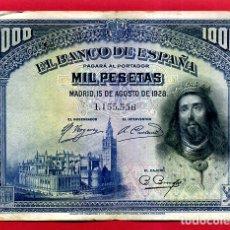 Billetes españoles: BILLETE 1000 PESETAS 1928 , MBC+ , SIN SERIE , ORIGINAL , T556. Lote 179522607