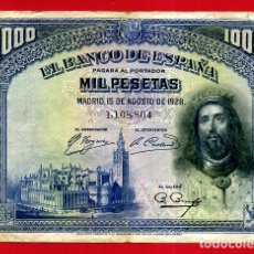 Billetes españoles: BILLETE 1000 PESETAS 1928 , MBC+ , SIN SERIE , ORIGINAL , T804. Lote 179522867