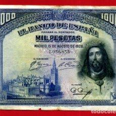 Billetes españoles: BILLETE 1000 PESETAS 1928 , MBC+ , SIN SERIE , ORIGINAL , T833. Lote 179522895