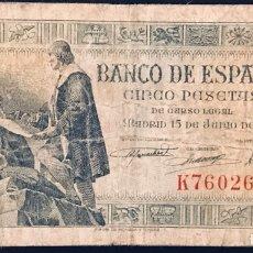 Billetes españoles: BILLETE 5 PESETAS DE 1945, SERIE K. Lote 179785388