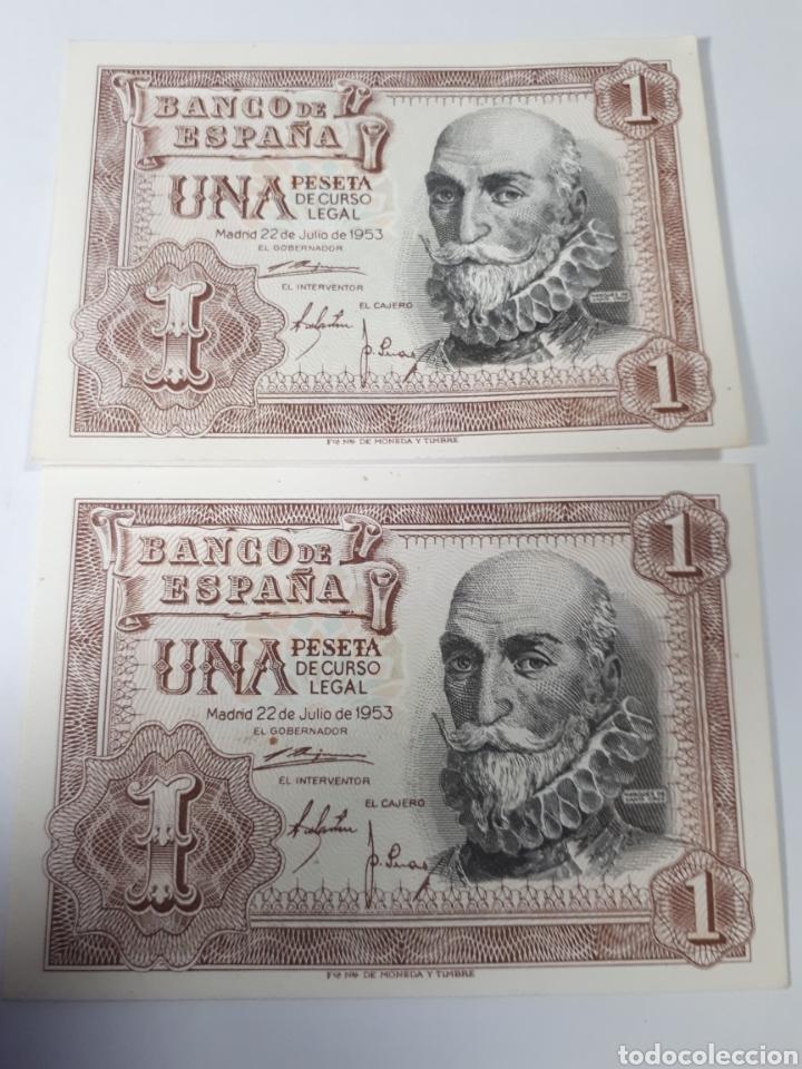 2 BILLETES CORRELATIVOS EN PLANCHA DE 1 PESETA AÑO 1953 (Numismática - Notafilia - Billetes Españoles)