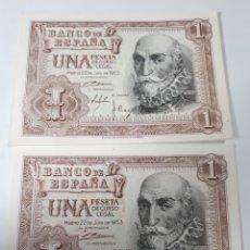 Billetes españoles: 2 BILLETES CORRELATIVOS EN PLANCHA DE 1 PESETA AÑO 1953. Lote 179962601