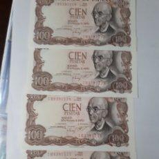 Billetes españoles: 4 BILLETES CORRELATIVOS EN PLANCHA DE 100 PESETAS AÑO 1970. Lote 179964760