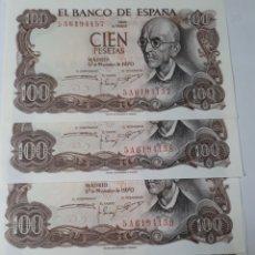 Billetes españoles: 4 BILLETES CORRELATIVOS EN PLANCHA DE 100 PESETAS AÑO 1970. Lote 179964872
