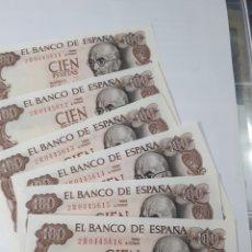 Billetes españoles: 6 BILLETES CORRELATIVOS EN PLANCHA DE 100 PESETAS AÑO 1970. Lote 179981590