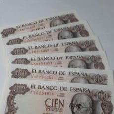 Billetes españoles: 6 BILLETES CORRELATIVOS EN PLANCHA DE 100 PESETAS AÑO 1970. Lote 180004751