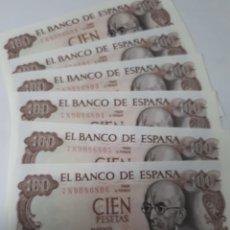 Billetes españoles: 6 BILLETES CORRELATIVOS EN PLANCHA DE 100 PESETAS AÑO 1970. Lote 180005147