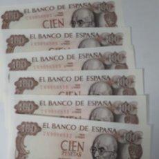 Billetes españoles: 6 BILLETES CORRELATIVOS EN PLANCHA DE 100 PESETAS AÑO 1970. Lote 180005297