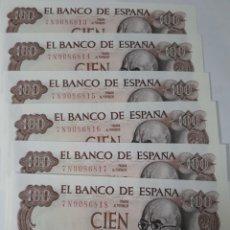 Billetes españoles: 6 BILLETES CORRELATIVOS EN PLANCHA DE 100 PESETAS AÑO 1970. Lote 180005732