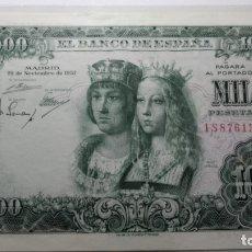 Billetes españoles: BILLETE 1000 PESETAS. REYES CATÓLICOS. 1957. S/C . PLANCHA. Lote 180037950