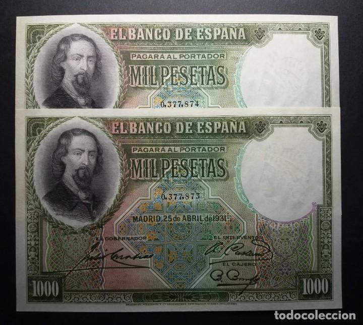 BILLETES DE 1000 PESETAS ZORRILLA. 1931.SC PAREJA SIN CIRCULAR (Numismática - Notafilia - Billetes Españoles)