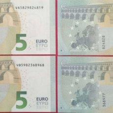 Billetes españoles: 2 PAREJAS CORRELATIVAS 5 EUROS TERCERA FIRMA DE DRAGHI DE LA VA Y DE LA VB DE ESPAÑA, SC/PLANCHA. Lote 180154557