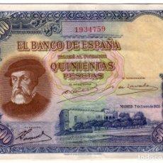 Billetes españoles: ESPAÑA 500 PESETAS 7 ENERO DE 1935 SIN SERIE HERNAN CORTES - REPUBLICA ESPAÑOLA. Lote 180156542