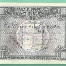 Billetes españoles: BILLETE: 1000 PESETAS BANCO DE ESPAÑA EN BILBAO 1937. SC. MATRIZ. Lote 180264395