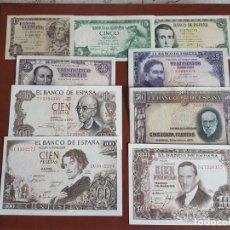 Billetes españoles: LOTE 9 BILLETES PESETAS DIFERENTES VALORES MBC. Lote 180276568