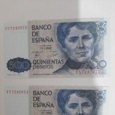 Billetes españoles: PAREJA CORRELATIVA 500 PESETAS 1979 SC. Lote 181221363