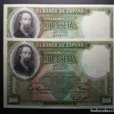 Billetes españoles: BILLETES DE 1000 PESETAS ZORRILLA. 1931.SC PAREJA SIN CIRCULAR. Lote 181444650