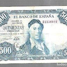 Billetes españoles: BILLETE. BANCO DE ESPAÑA. 500 PESETAS. MADRID 1954. IGNACIO ZULOAGA. EL DE LA FOTO. VER. Lote 181463348