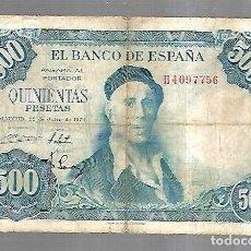 Billetes españoles: BILLETE. BANCO DE ESPAÑA. 500 PESETAS. MADRID 1954. IGNACIO ZULOAGA. EL DE LA FOTO. VER. Lote 181463388