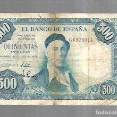 Billetes españoles: BILLETE. BANCO DE ESPAÑA. 500 PESETAS. MADRID 1954. IGNACIO ZULOAGA. EL DE LA FOTO. VER. Lote 181463457