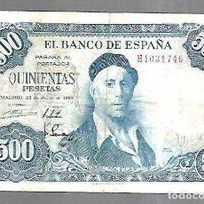 Billetes españoles: BILLETE. BANCO DE ESPAÑA. 500 PESETAS. MADRID 1954. IGNACIO ZULOAGA. EL DE LA FOTO. VER. Lote 181463477