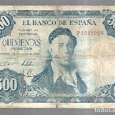 Billetes españoles: BILLETE. BANCO DE ESPAÑA. 500 PESETAS. MADRID 1954. IGNACIO ZULOAGA. EL DE LA FOTO. VER. Lote 181463596