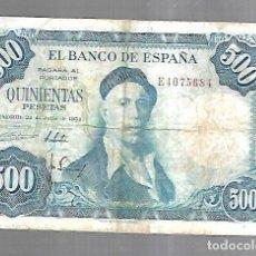 Billetes españoles: BILLETE. BANCO DE ESPAÑA. 500 PESETAS. MADRID 1954. IGNACIO ZULOAGA. EL DE LA FOTO. VER. Lote 181463645