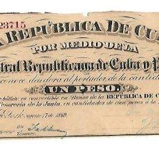 Billetes españoles: BILLETE. 1 PESO. REPUBLICA DE CUBA. 1869. JUNTA CENTRAL REPUBLICANA DE CUBA Y PUERTO RICO. Lote 181468036