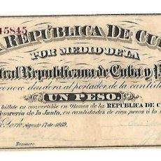 Billetes españoles: BILLETE. 1 PESO. REPUBLICA DE CUBA. 1869. JUNTA CENTRAL REPUBLICANA DE CUBA Y PUERTO RICO. Lote 181468132