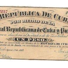 Billetes españoles: BILLETE. 1 PESO. REPUBLICA DE CUBA. 1869. JUNTA CENTRAL REPUBLICANA DE CUBA Y PUERTO RICO. Lote 181468152