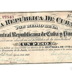 Billetes españoles: BILLETE. 1 PESO. REPUBLICA DE CUBA. 1869. JUNTA CENTRAL REPUBLICANA DE CUBA Y PUERTO RICO. Lote 181468178