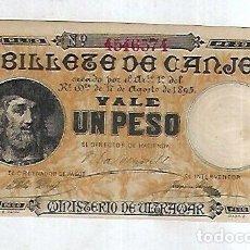 Billetes españoles: BILLETE DE CANJE. VALE UN PESO.S/C. MINISTERIO DE ULTRAMAR. 1895. VER. EL DE LA FOTO.. Lote 181468782