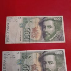 Billetes españoles: 1992 1000 PESETAS DOS BILLETES HERNAN CORTÉS BANCO ESPAÑA. Lote 181492867