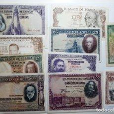 Billetes españoles: LOTE 10 BILLETES ESPAÑOLES LOS DE LAS FOTOS. Lote 181599630