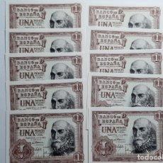 Billetes españoles: LOTE 10 BILLETES DE 1 PESETA 1953 CORRELATIVOS SC. Lote 181599937