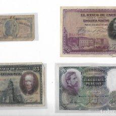 Billetes españoles: 4 BILLETES ANTIGUOS. Lote 181700346