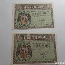Billetes españoles: PAREJA 1 PESETA 1938 CORRELATIVA EBC VER FOTOS. Lote 181932040