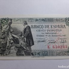 Billetes españoles: 5 PESETAS 1945 SC EL DE LA FOTO. Lote 181932866