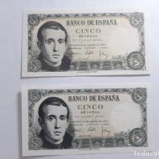 Billetes españoles: LOTE 2 BILLETES 5 PESETAS 1951 NO CORRELATIVOS EBC +++. Lote 181934992