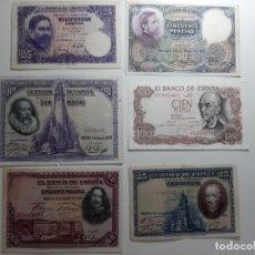 Billetes españoles: LOTE 6 BILLETES ESPAÑOLES LOS DE LAS FOTOS. Lote 181961498