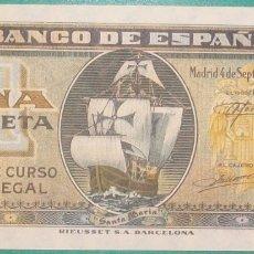 Billetes españoles: BANCO DE ESPAÑA. 1 PESETA. 4 SETIEMBRE 1940. CARABELA. SERIE I. SC-. Lote 182379362