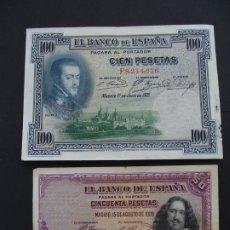 Billetes españoles: BILLETE DE 50 Y 100 PESETAS PTS - AÑOS 1928 Y 1925 - SALIDA 0,01€. Lote 182471443