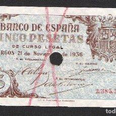 Billetes españoles: 5 PESETAS 1936 SIN SERIE S/C-. Lote 182686032