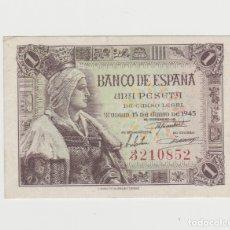 Billetes españoles: 1 PESETA- 15 DE JUNIO DE 1945-SIN SERIE/SIN CIRCULAR. Lote 182691755