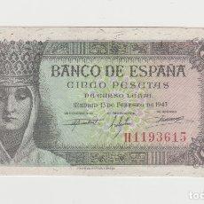 Billetes españoles: 5 PESETAS- 13 DE FEBRERO DE 1943-SIN CIRCULAR. Lote 182691802