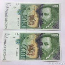 Billetes españoles: PAREJA CORRELATIVA 1000 PESETAS - 1992 - SIN SERIE - SIN CIRCULAR - PLANCHA. Lote 194557253