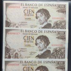 Billetes españoles: TRÍO CORRELATIVA 100 PESETAS 1965 NÚMERO BAJÍSIMO 706 / 707 / 708 BAJO. Lote 182790338