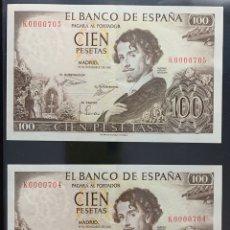 Billetes españoles: PAREJA CORRELATIVA 100 PESETAS 1965 NÚMERO BAJÍSIMO 704 / 705 / BAJO. Lote 182790551