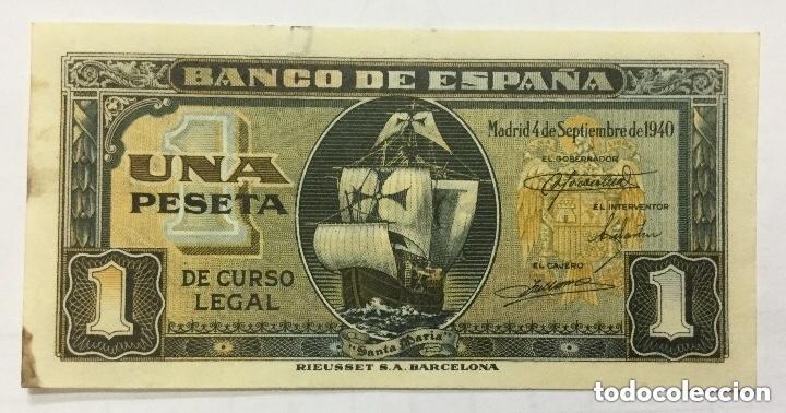 BILLETE 1 PESETA MADRID SEPTIEMBRE 1940 - SERIE B - ORIGINAL - PLANCHA (Numismática - Notafilia - Billetes Españoles)