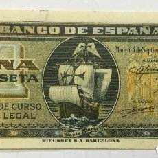 Billetes españoles: BILLETE 1 PESETA MADRID SEPTIEMBRE 1940 - SERIE B - ORIGINAL - PLANCHA. Lote 182851070